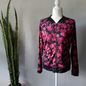 Cato zip up black and pink floral jacket